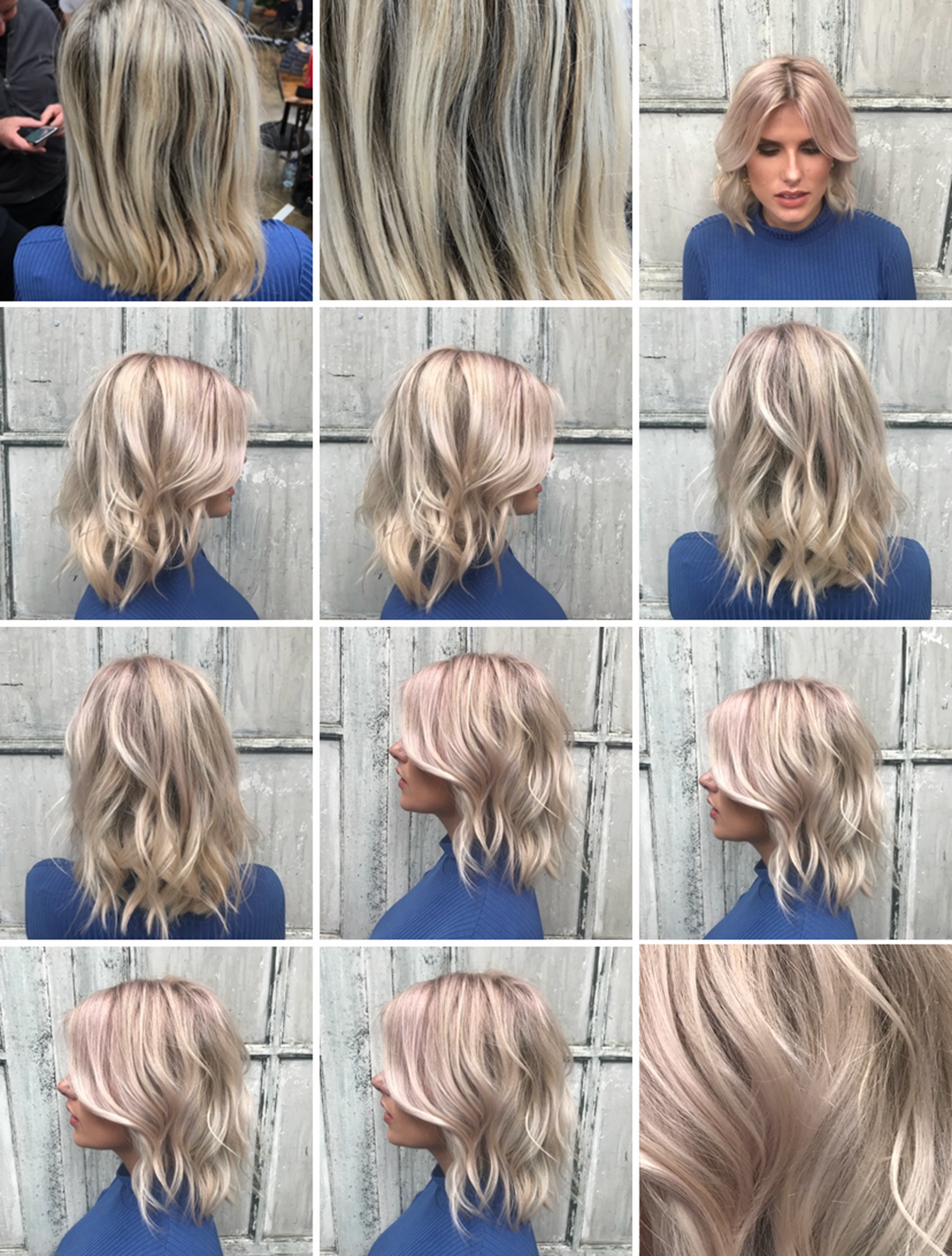 multiple before and after hair pictures of blonde girl