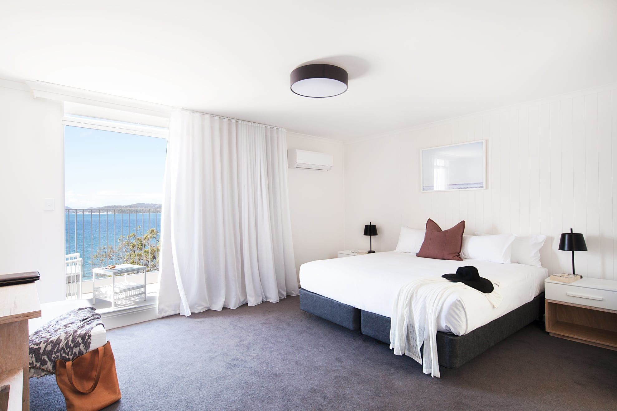 Ocean Deck room, light, bright and airy with views of Salamander Bay