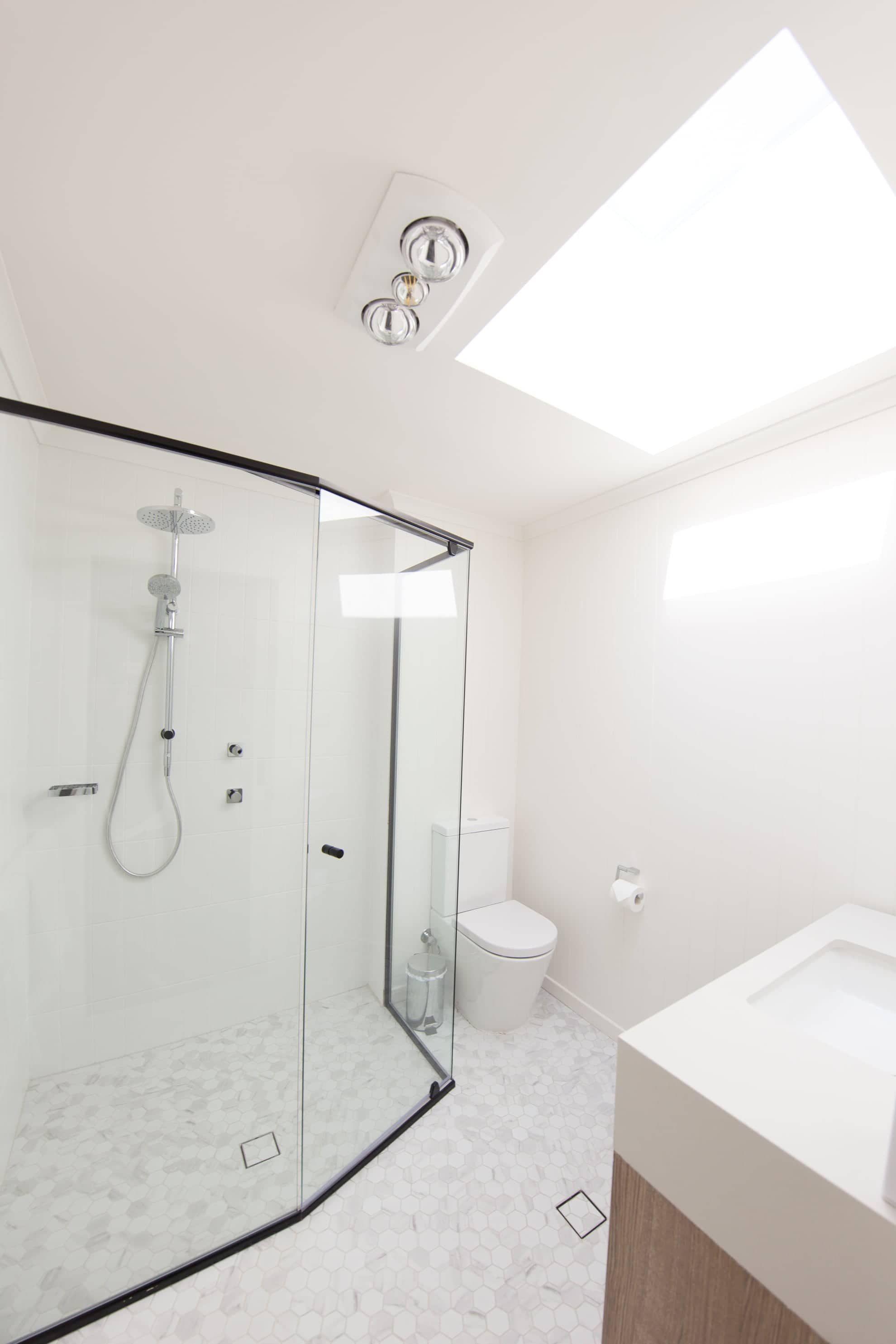 image of bathroom with glass shower door