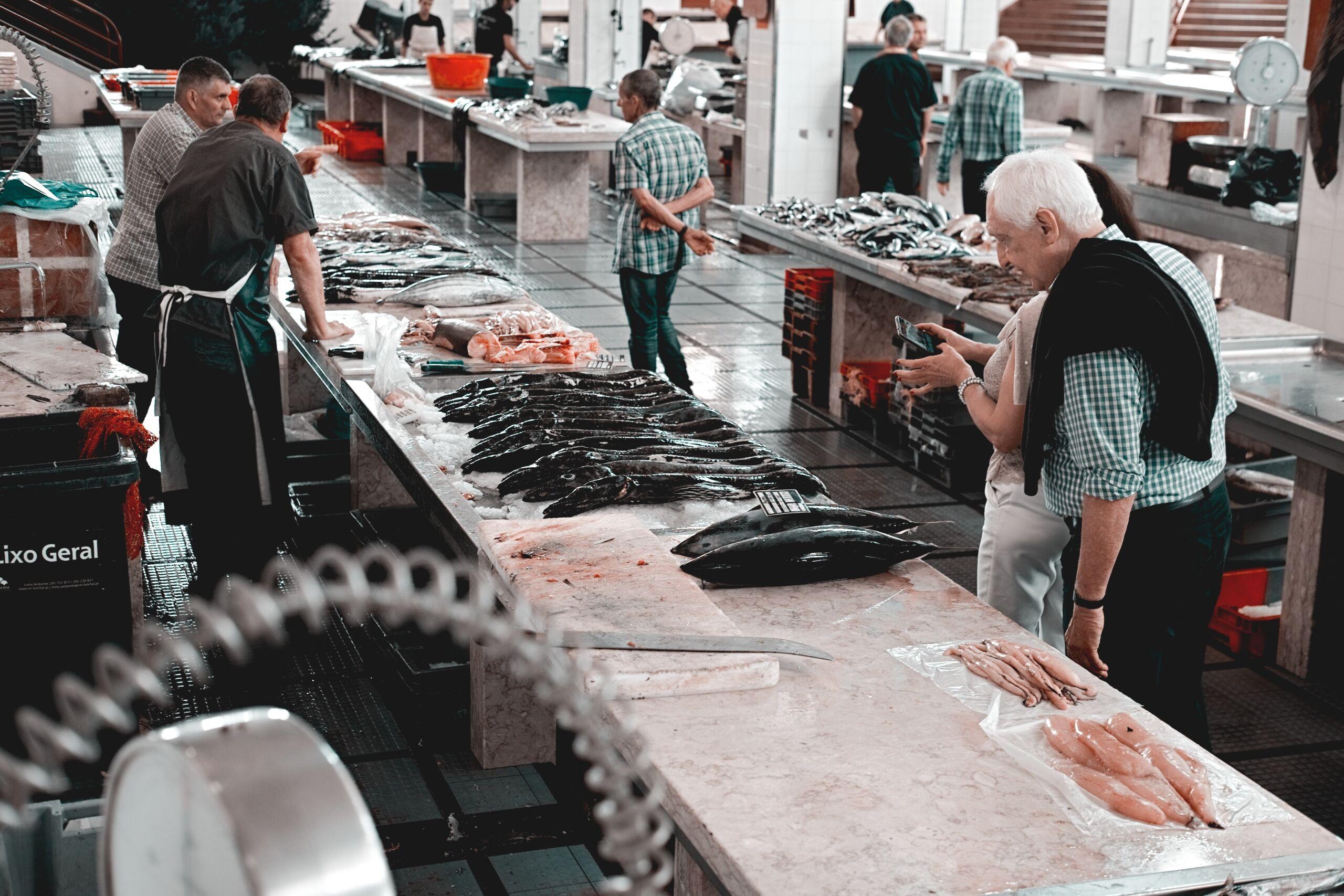 fish market stalls fishmonger