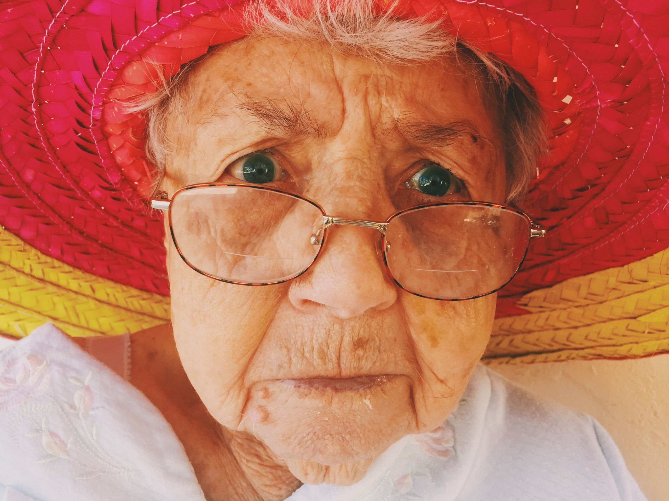 old lady with glasses looking worried nan granny
