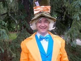 The Mad Hatter is a fun crazy character for Calgary tea birthday parties.