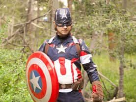 Captain America impersonator makes the party complete