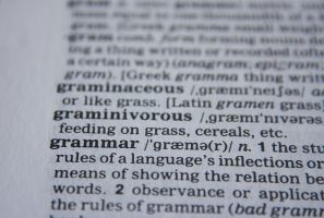 explanations of words in a grammar book
