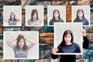 a wall with pictures of a woman emitting different non-verbal clues