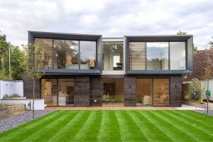contrasol external shading solutions with timber shutters over slim framed aluminium sliding glass doors