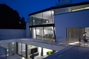minimal windows slim sliding door on a contemporary new build home