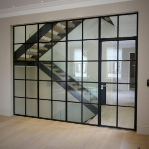steel framed fixed screen with integrated door
