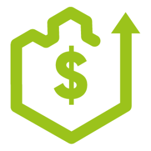 Green Hexagonal Icon for Funding Sourcing for Product Development - Dollar Sign