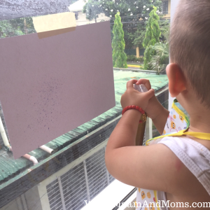 Spray painting with tempera paints