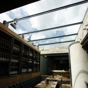 steel glass roof to restaurant