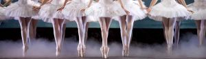 A row of ballet dancers en pointe
