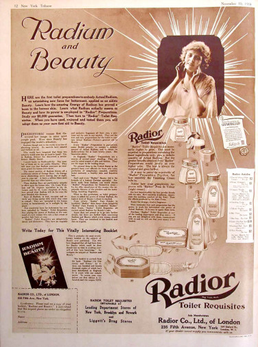 High-tech skin care solutions of the past: radioactive radium resulting in radiating and beautiful skin. Knowledge is power! (Image credit: Radior cosmetics)