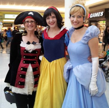Princess Snow White and Princess Cinderella with their favorite Lady Pirate from Enchanted Events Arghh!