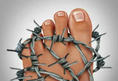 A foot is wrapped in barbed wire which is how your feet can feel with Peripheral Neuropathy