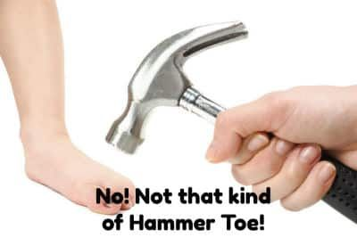 A hammer about to hit a toe, not what we mean.