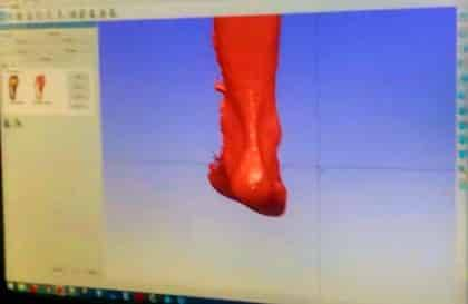 A foot scan has been loaded into the software
