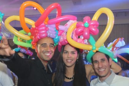 balloon hats at a party