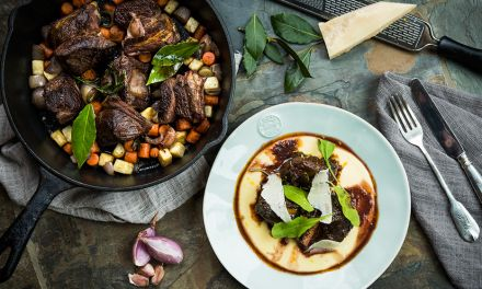 Braised Bison Short Ribs with Red Wine & Parmesan Polenta