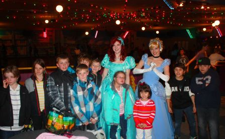 Princess Cinderella and Princess Little Mermaid at Rollerskate Birthday Party