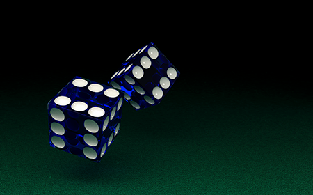 Image of a pair of dice rolled by a customer