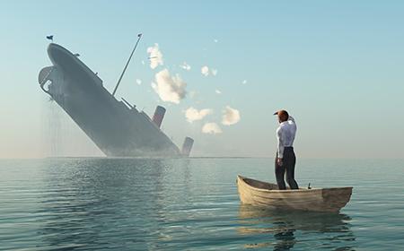 man watching ship sinking