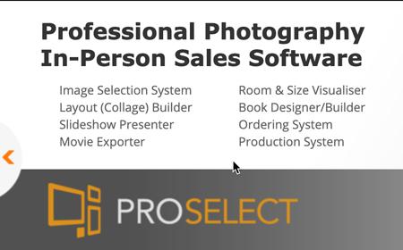 Screenshot of pro select photography sales software