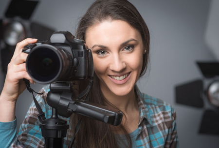 image of woman about to take photos