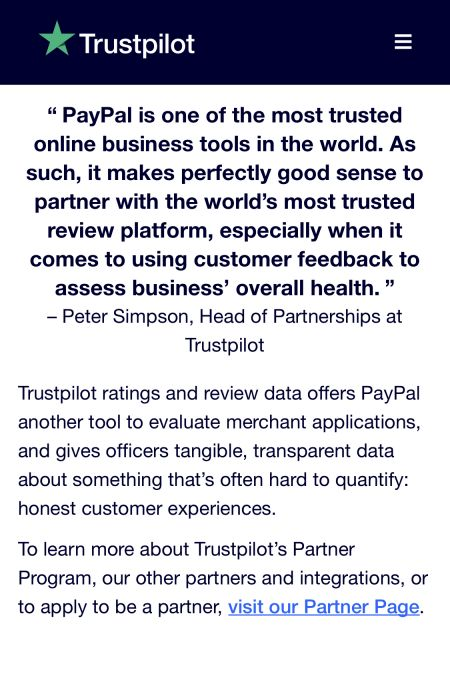 Trustpilot and Paypal