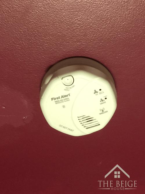 Smoke detector on the wall