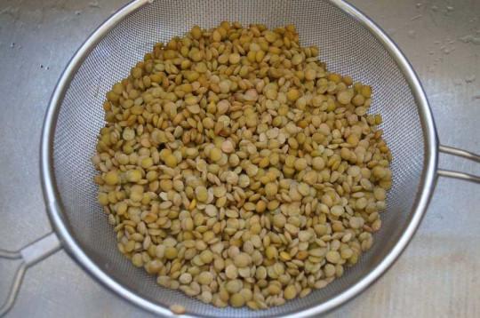 draining lentils
