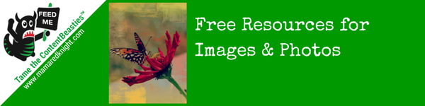 "Green rectangle with text ""Free Resources for Images and Photos"""