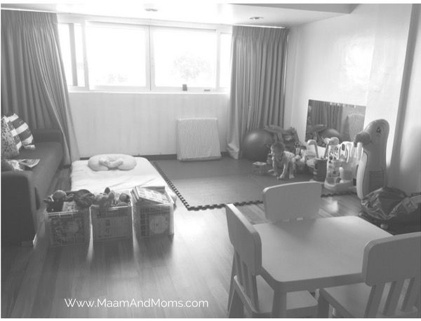 To accommodate our customized shelf, the sofa bed and crib were repositioned