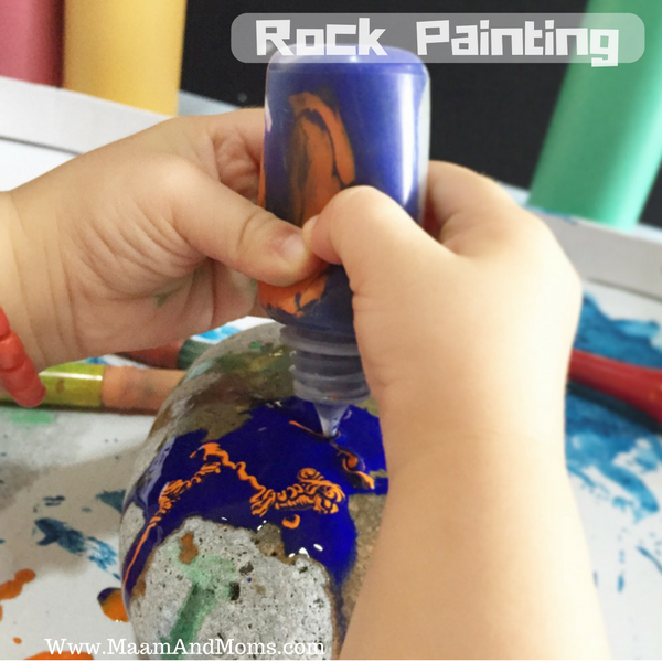 2nd rock painting activity. We explored the use of a squeezable bottle.