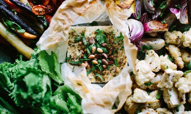 Baked Feta Salad with Mixed Fall Vegetables
