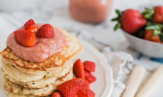 Fluffy Pancakes with Rhubarb Curd