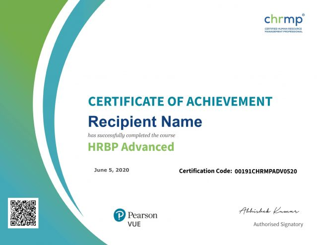 HRBP Advanced Sample Certificate