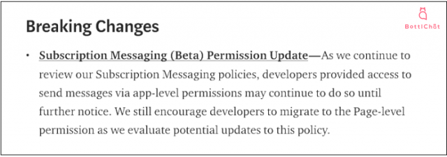 Subscription Messaging Permission Update