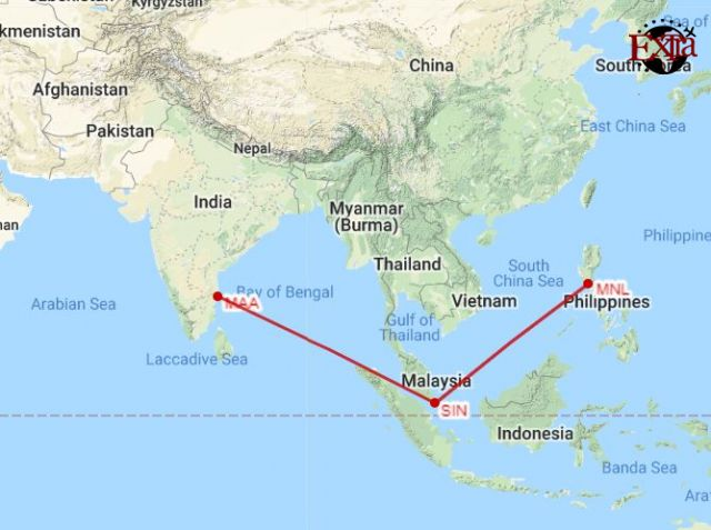 Chennai to Manila Map