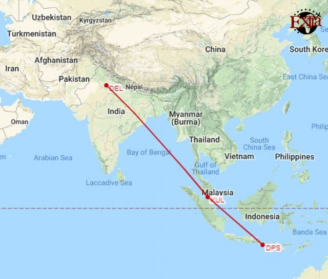 Delhi to Bali Map