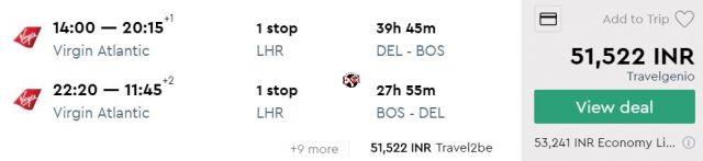 Delhi to Boston