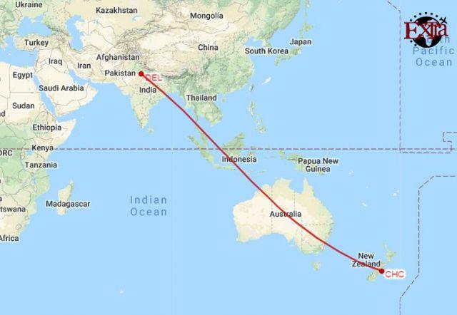Delhi to Christchurch Map