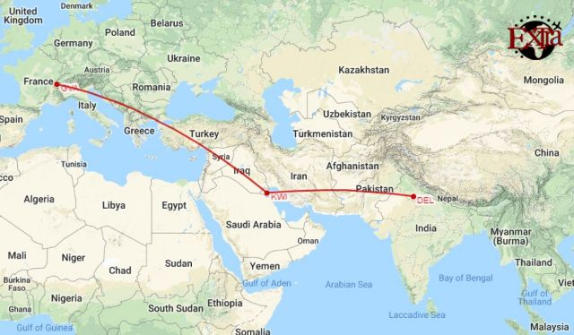 Delhi to Geneva Map
