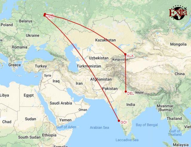 Delhi to Moscow to Goa Map