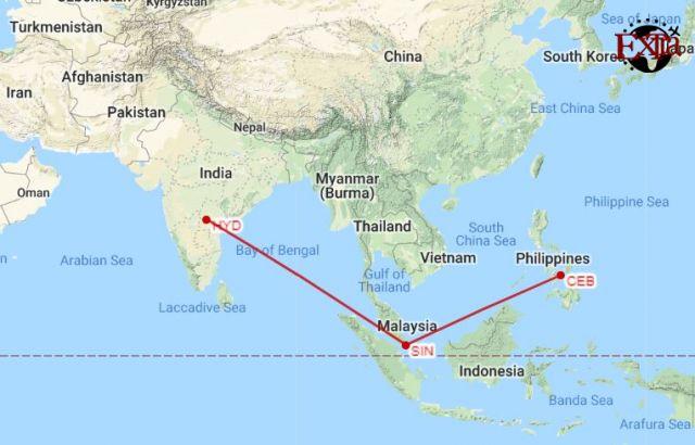 Hyderabad to Cebu Map