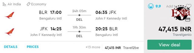 Bengaluru to New York