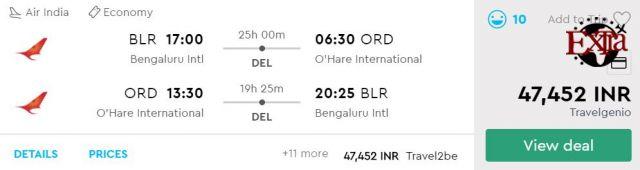 Bengaluru to Chicago