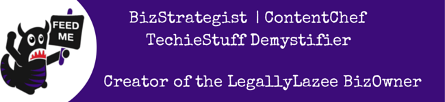 "Dark purple strip with Beastie character and text ""BizStrategist, ContentChef, TechieStuffDemystifier"""