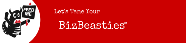 """Red strip with Beastie Character and """"Tame Your BizBeasties"""" text"""