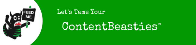 """Green strip with Beastie Character and """"Tame Your ContetBeasties"""" text"""
